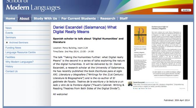 Humanidades Digitales: un paso más allá