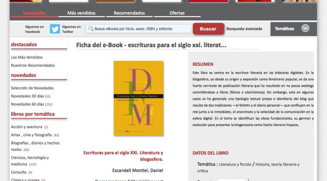 Escrituras para el siglo XXI. Literatura y blogosfera debuta en ebook
