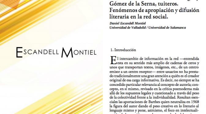 Reinventando a los autores: Borges y Gómez de la Serna, tuiteros. Fenómenos de apropiación y difusión literaria en la red social