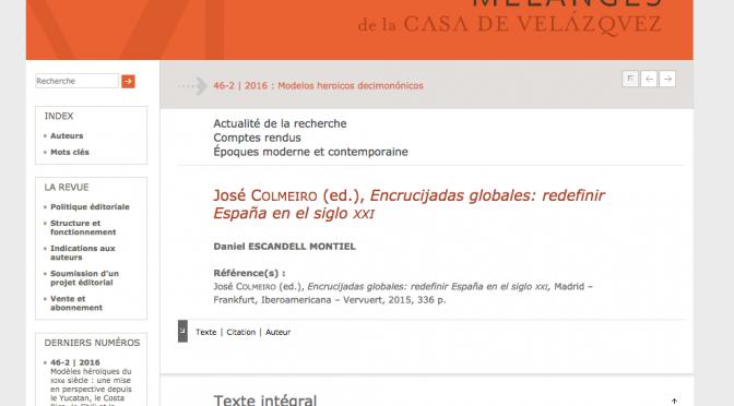 Reseña de <i>Encrucijadas globales: redefinir España en el siglo XXI</i>