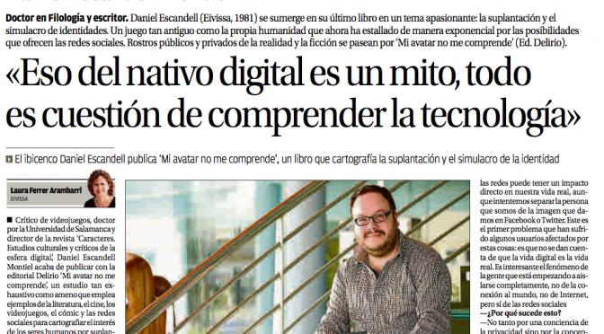Entrevista en Diario de Ibiza sobre Mi avatar no me comprende