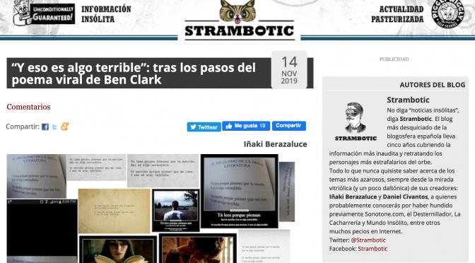 Strambotic entra en modo viral con 'Y eso es algo terrible. Crónica de un poema viral'